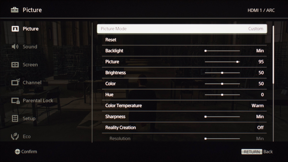 Sony W650D Calibration Settings 2