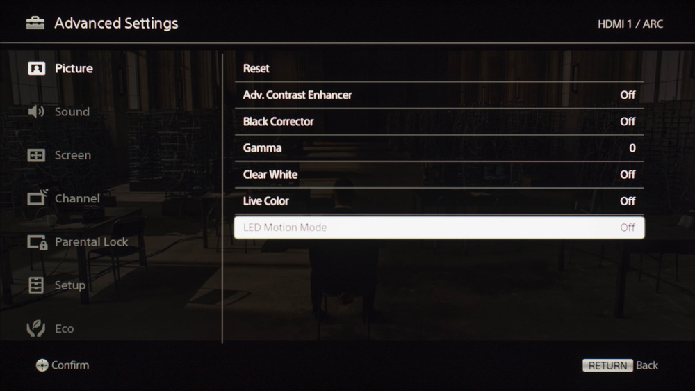 Sony W650D Calibration Settings 4