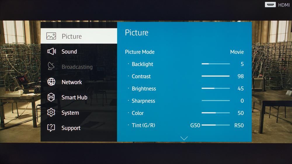 Samsung JS7000 Calibration Settings 1