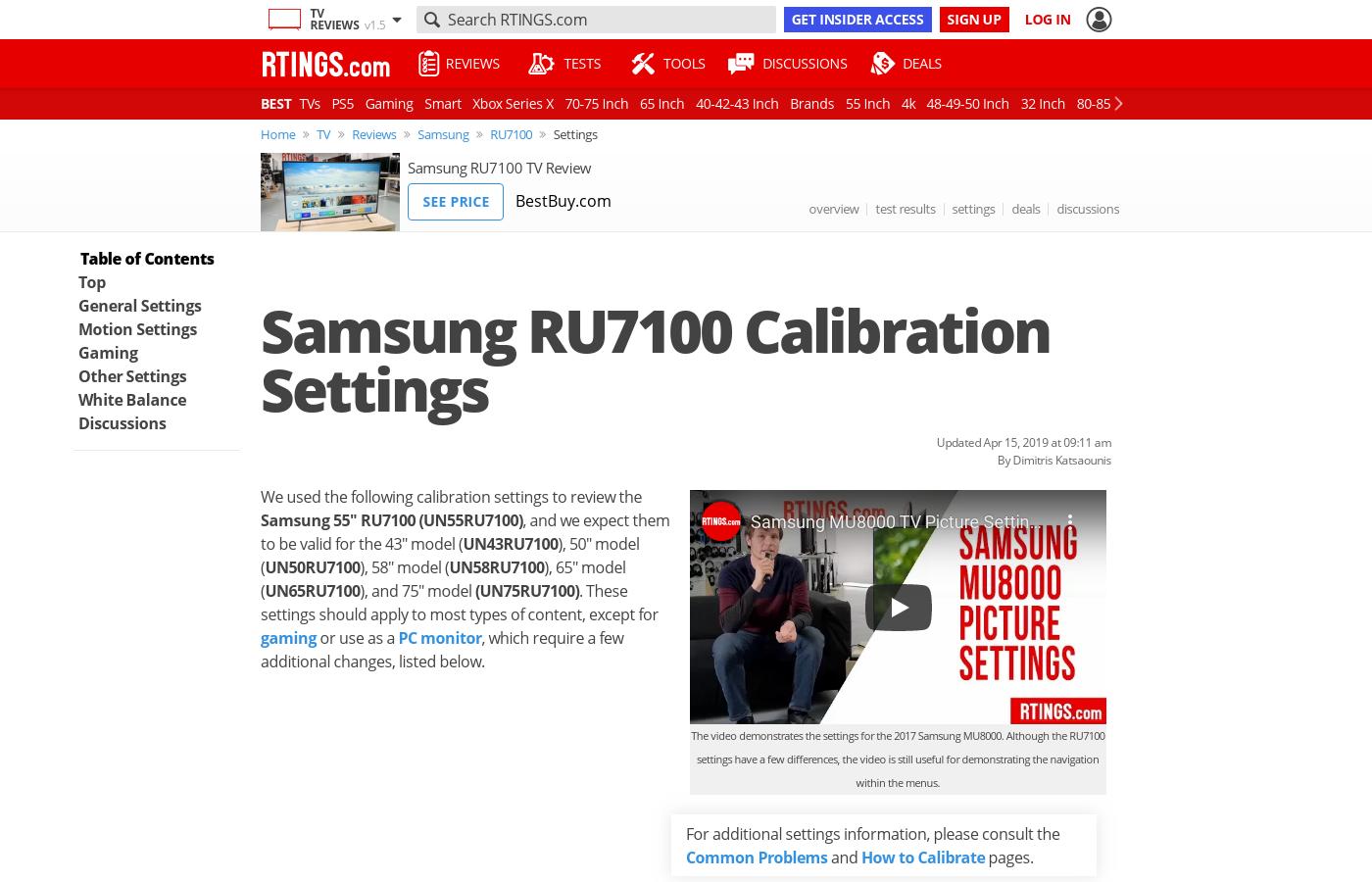 Samsung RU7100 Calibration Settings - RTINGS com