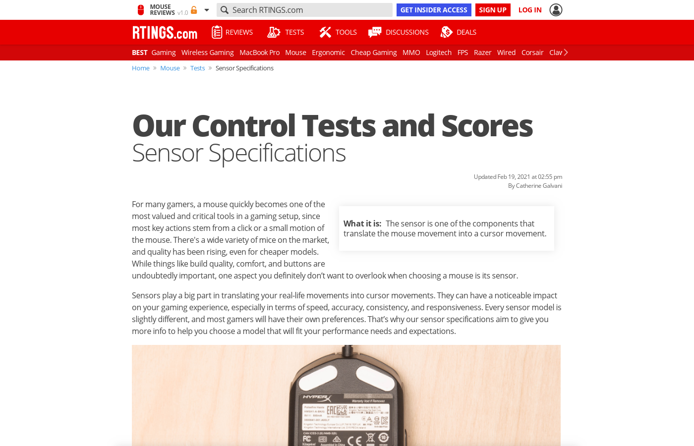 Our Control Tests and Scores: Sensor Specifications