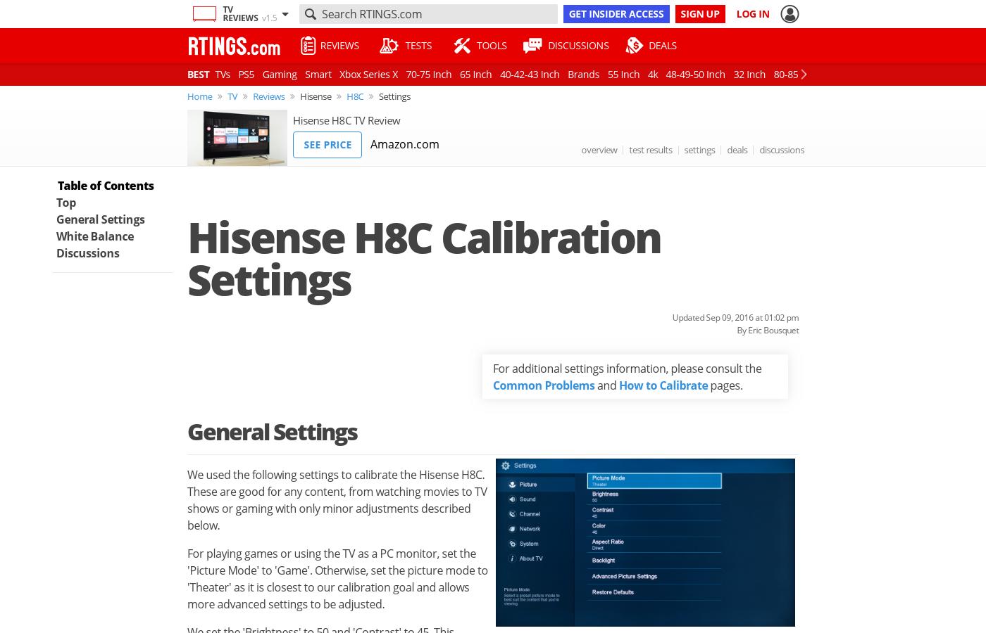 Hisense H8C Calibration Settings - RTINGS com