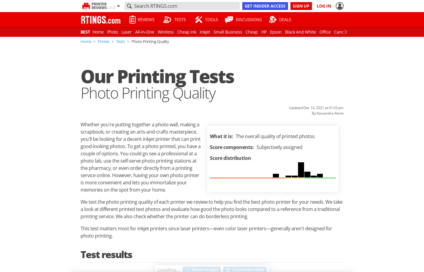 Our Photo Printing Quality Score and Tests: Printers