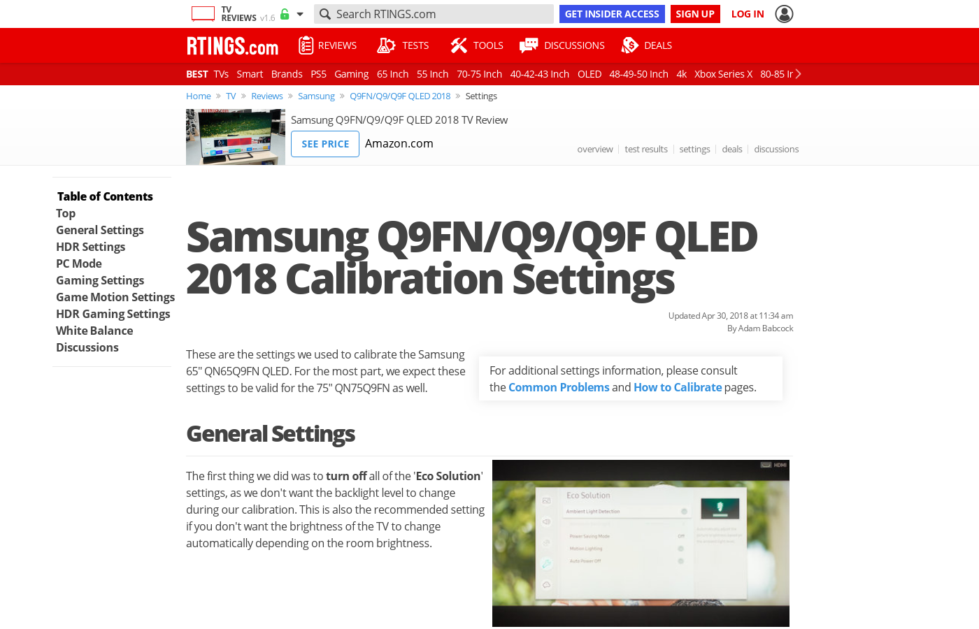 Samsung Q9FN Calibration Settings - RTINGS com