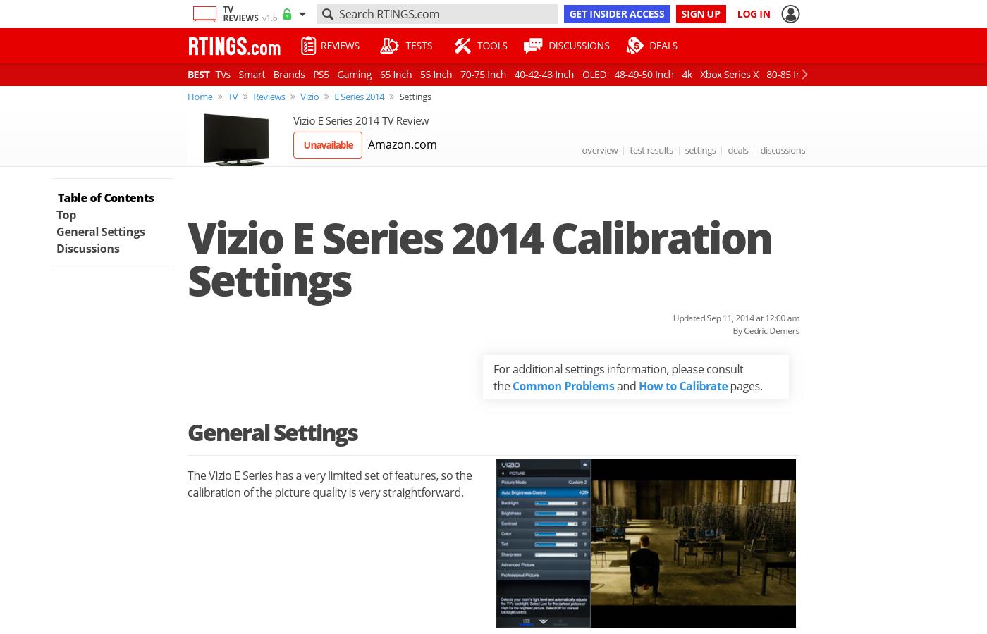 Vizio E Series Calibration Settings - RTINGS com