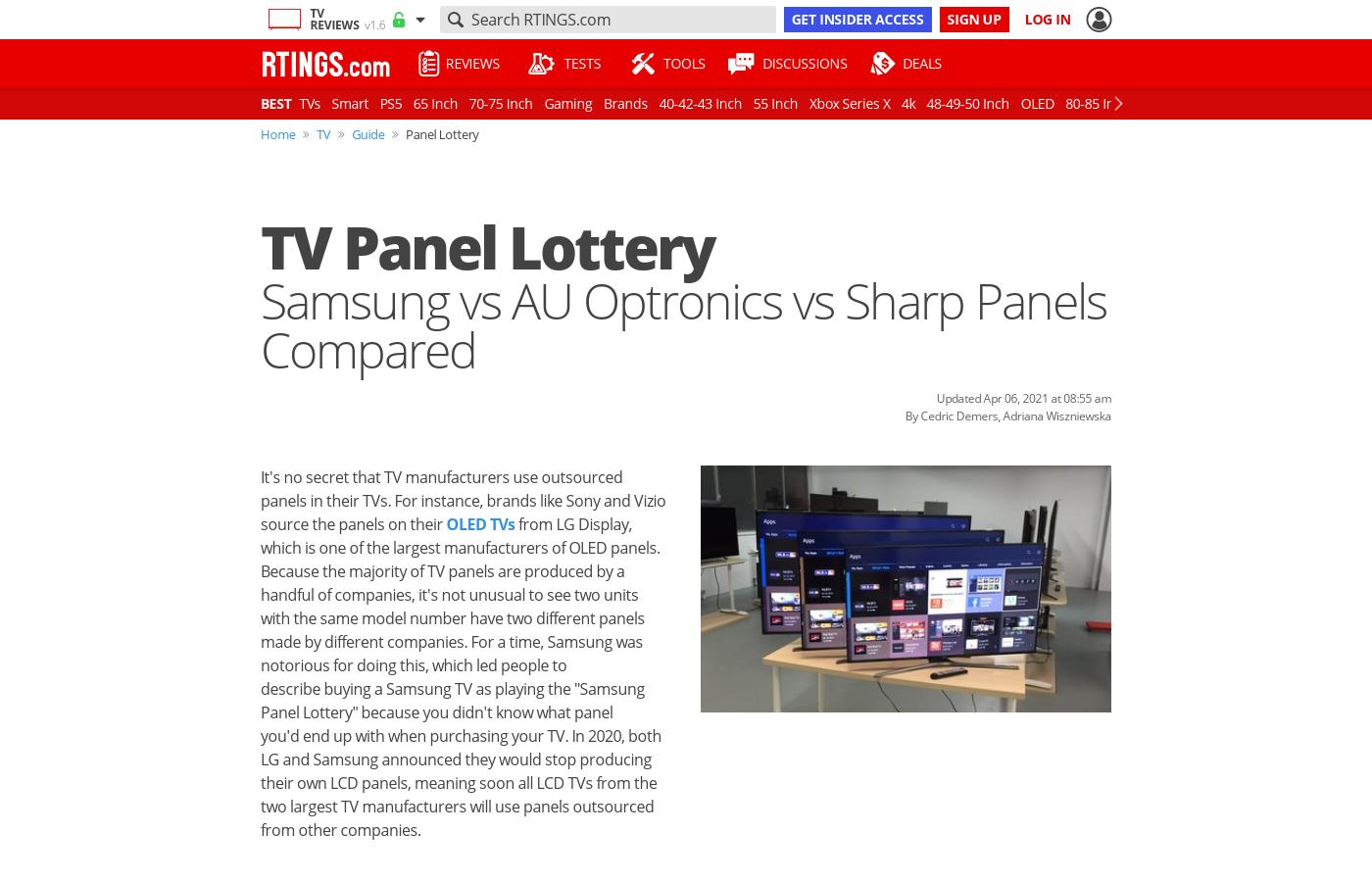 TV Panel Lottery: Samsung vs AU Optronics vs Sharp Panels