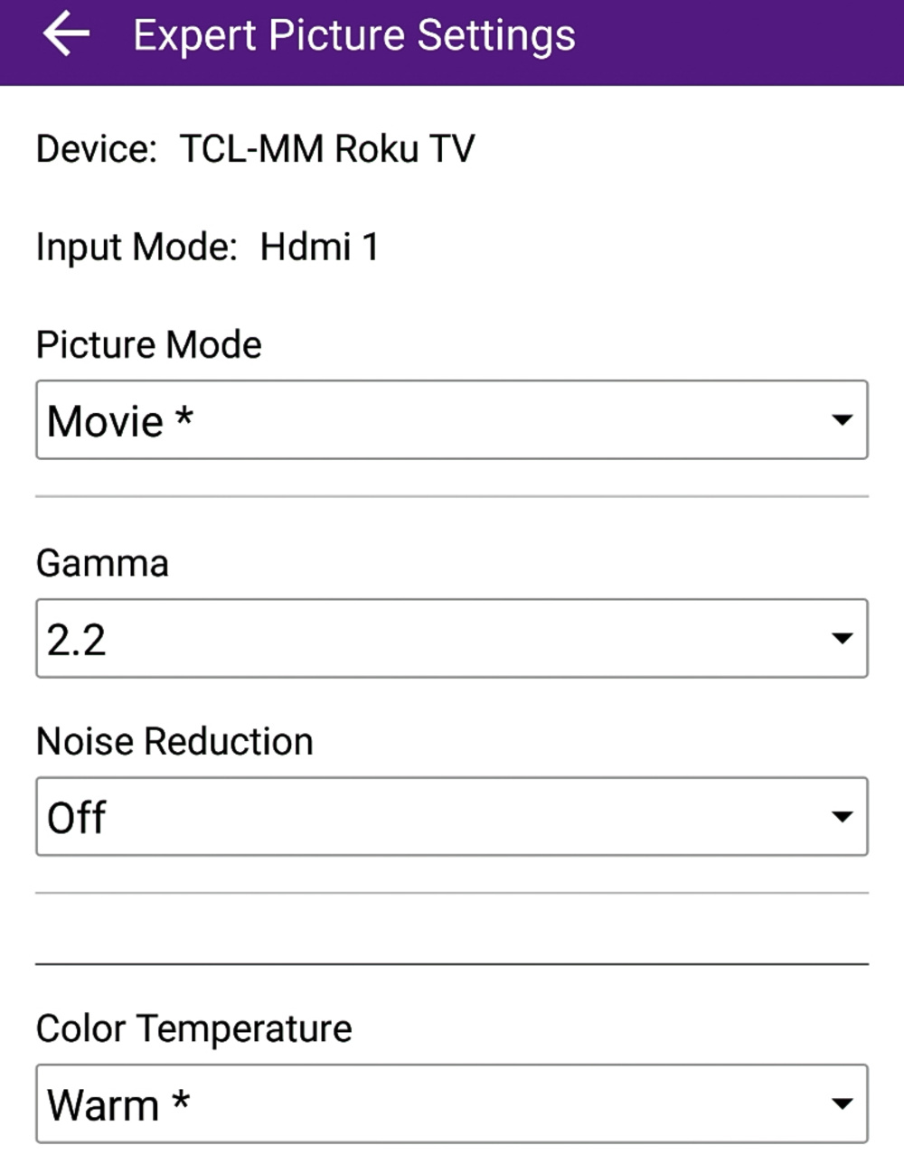 TCL 5 Series/S517 2018 Calibration Settings 34