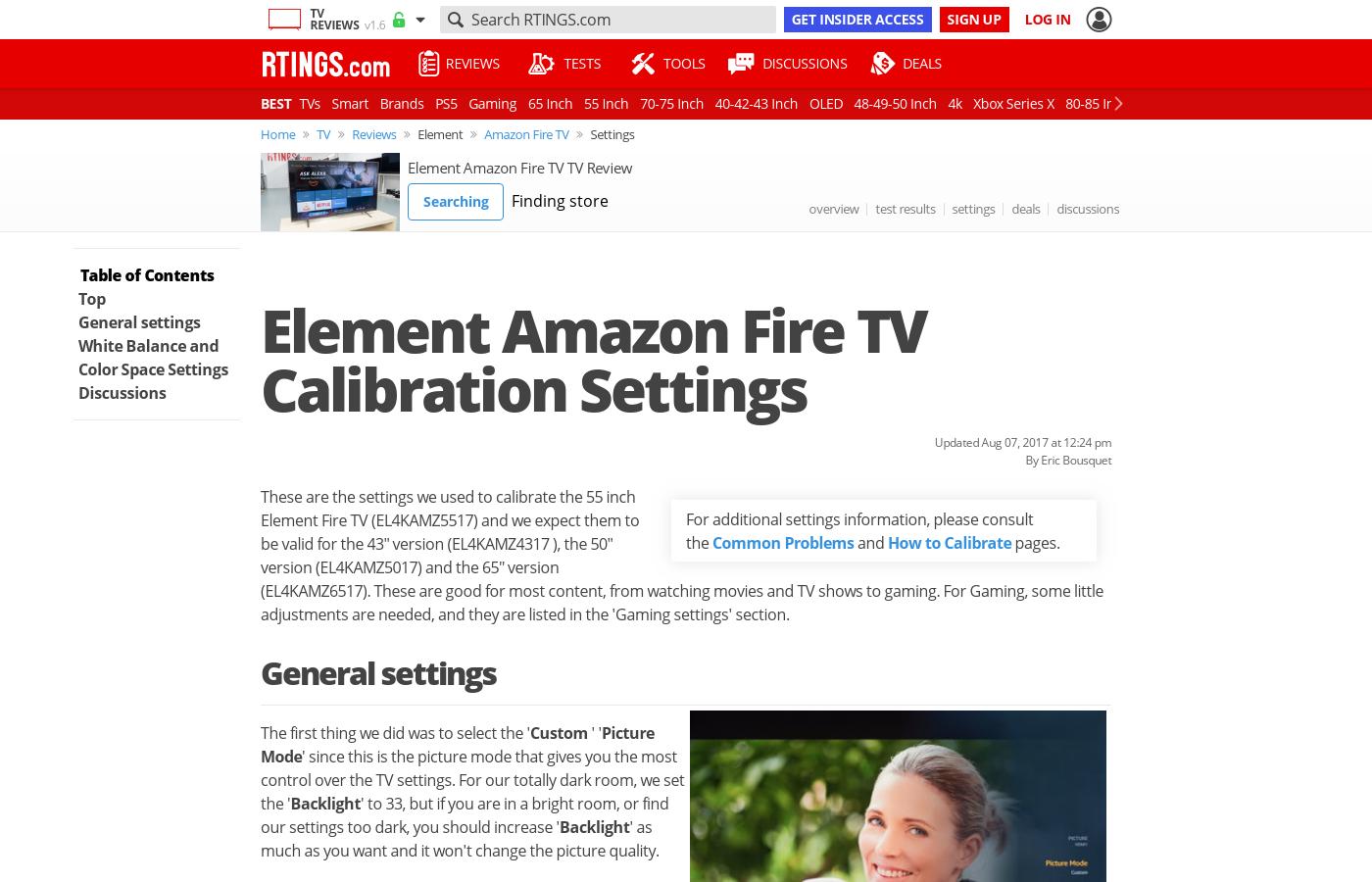 Element Fire LED TV Calibration Settings - RTINGS com
