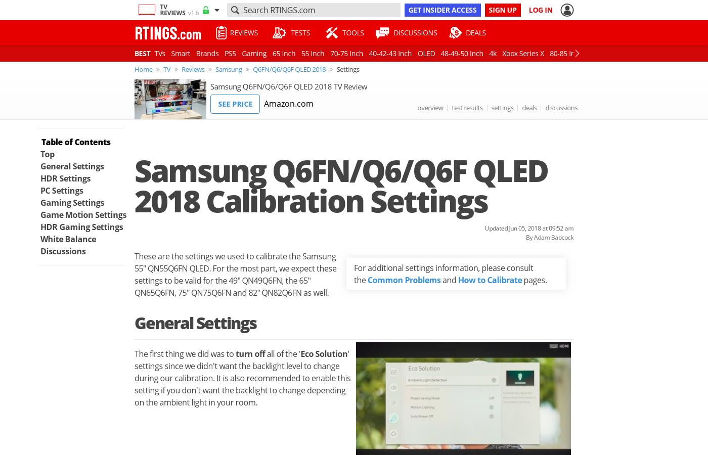 Samsung Q6FN Calibration Settings - RTINGS com