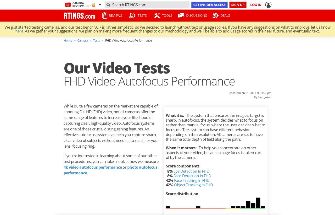Test Article: FHD Video Autofocus Performance
