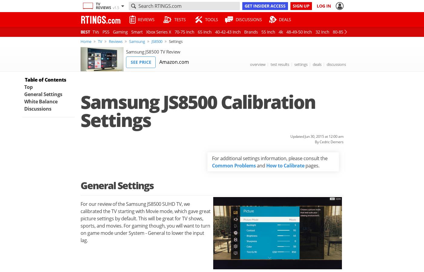 Best calibration settings samsung js8500