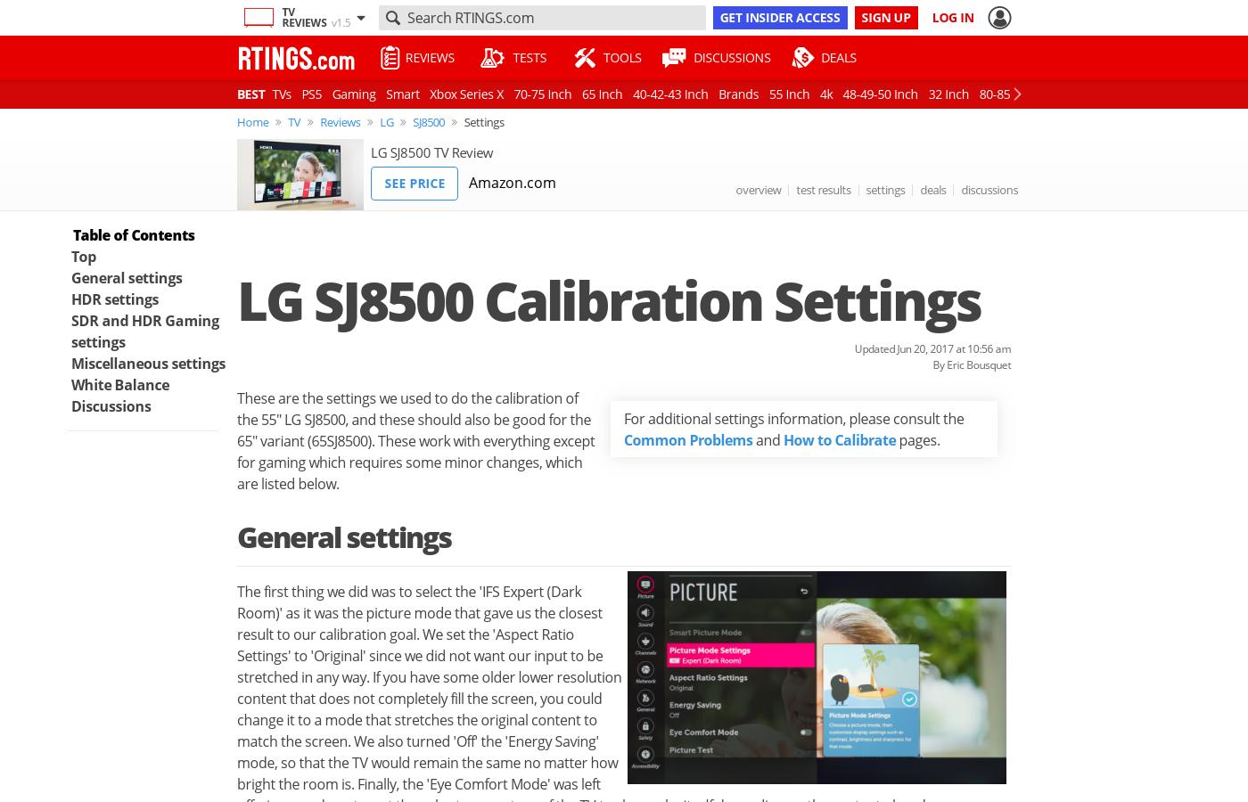 LG SJ8500 LED TV Calibration Settings - RTINGS com