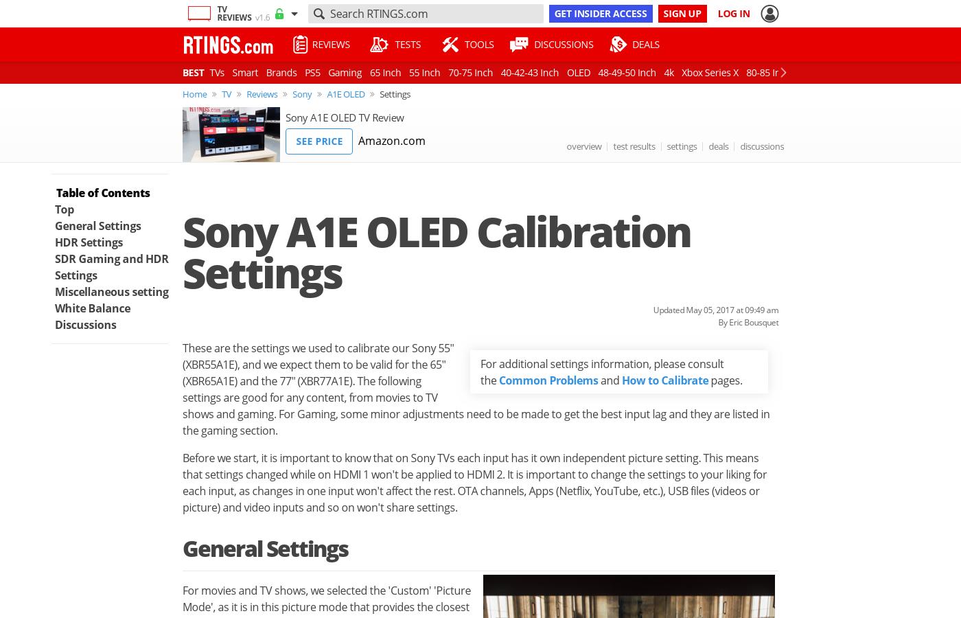 Sony A1E OLED TV Calibration Settings - RTINGS com