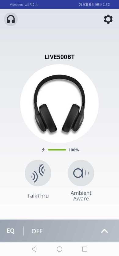 JBL Live 500BT Wireless App Picture