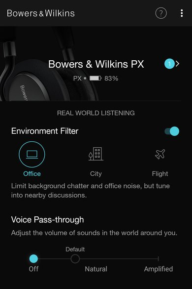 Bowers & Wilkins PX Wireless App Picture