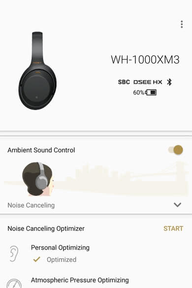 Sony WH-1000XM3 Wireless App Picture