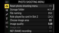 Nikon Z 5 Screen Menu Picture