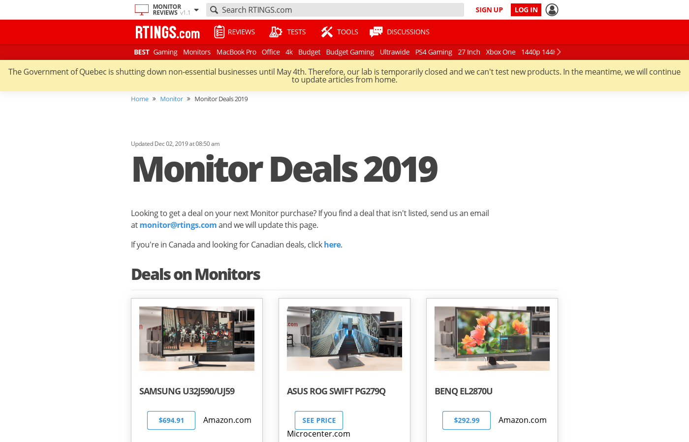 Black Friday Monitor Deals - 2018
