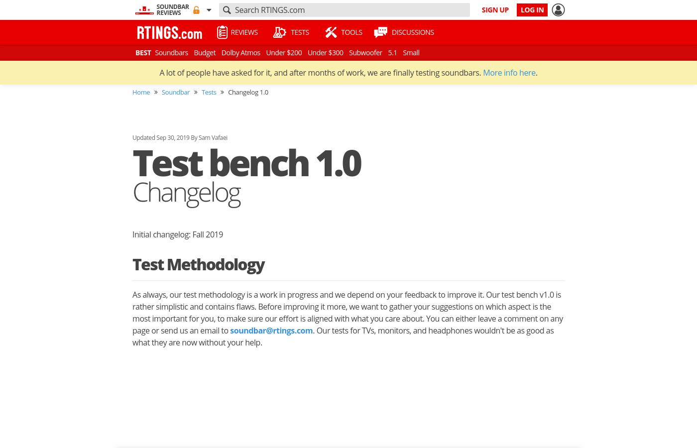 Test bench 1.0:Changelog