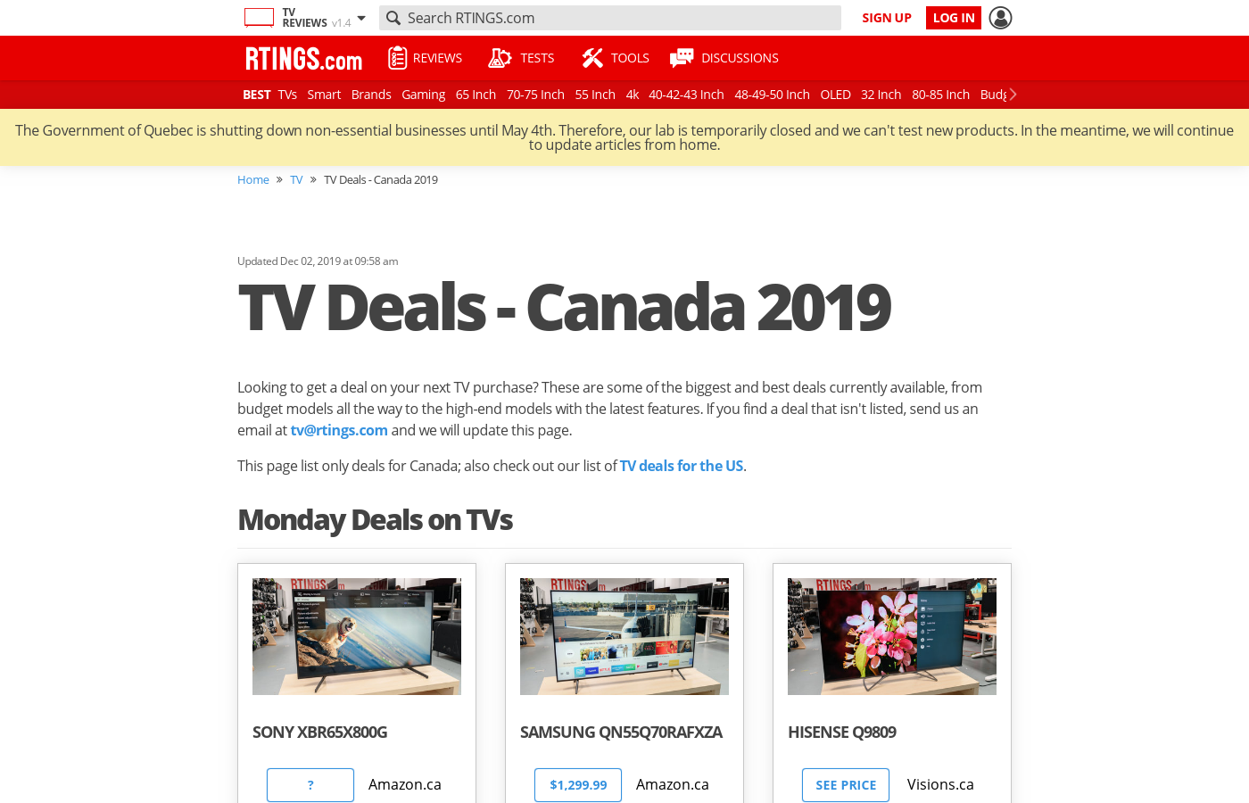Canada Black Friday 2018 - TV Deals