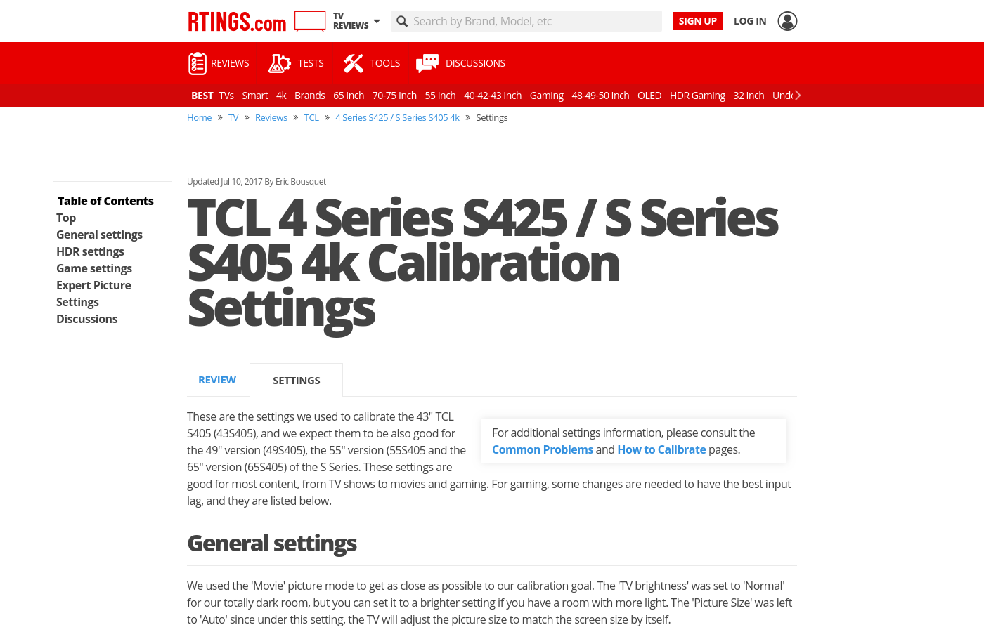 Tcl 4 Series S425 S Series S405 4k Calibration Settings